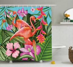 Tropikal Duş Perdesi Flamingolar Rengarenk Çiçekler