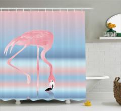 Göldeki Flamingo Temalı Duş Perdesi Pembe Mavi Trend