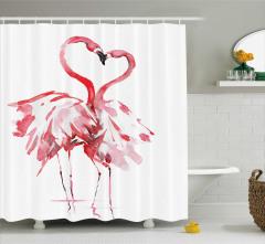 Aşık Flamingolar Temalı Duş Perdesi Romantik Kırmızı
