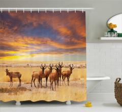 Antilop ve Afrika Temalı Duş Perdesi Sarı