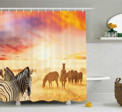 Zebra ve Afrika Temalı Duş Perdesi Vahşi Hayat