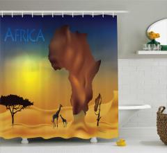 Zürafa ve Afrika Desenli Duş Perdesi Safari