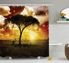 Ağaç ve Hayvan Sürüsü Temalı Duş Perdesi Sarı