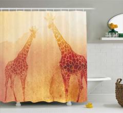 Bej Fonlu Zürafa Desenli Duş Perdesi Modern