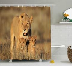 Aslan ve Yavruları Temalı Duş Perdesi Afrika