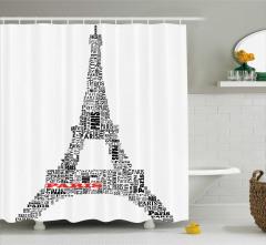 Paris Temalı Duş Perdesi Eyfel Kulesi Siyah Beyaz