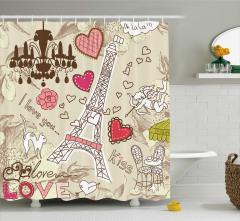 Aşk Şehri Paris Temalı Duş Perdesi Eyfel Bej Pembe