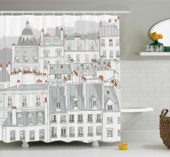 Gri Duş Perdesi Paris Çatıları Temalı Eyfel Beyaz