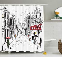 Siyah Beyaz Duş Perdesi Paris Caddeleri Temalı Eyfel