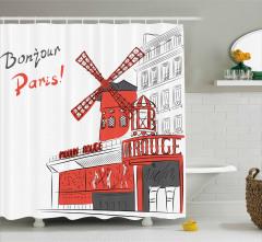 Paris Temalı Duş Perdesi Şık Tasarım Kırmızı Beyaz