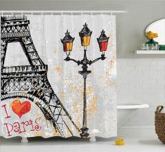 Paris Aşkı Temalı Duş Perdesi Eyfel Kulesi Gri Sarı