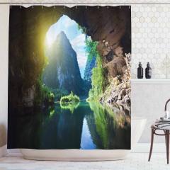 Mağara ve Nehir Manzaralı Duş Perdesi Yeşil