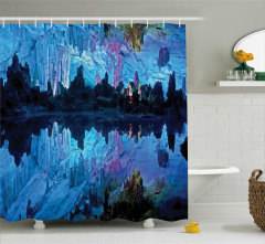 Mağara Gölü Manzaralı Duş Perdesi Mavi Pembe
