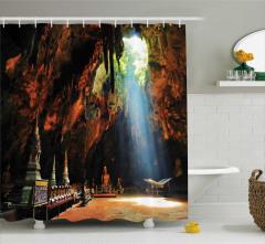 Antik Mağara Tapınağı Temalı Duş Perdesi