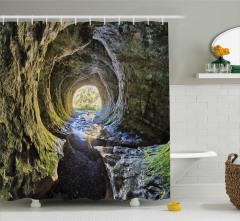 Mağara ve Güneş Işığı Temalı Duş Perdesi Sarı