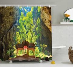 Mağara ve Tapınak Manzaralı Duş Perdesi Dini