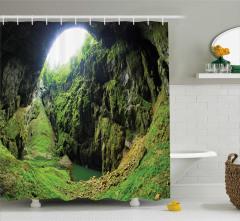 Güneş Işığı ve Mağara Temalı Duş Perdesi Yeşil