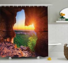 Güneş Mağara ve Orman Temalı Duş Perdesi Doğa
