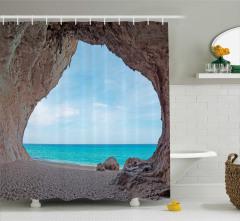 Kumsal Mağara ve Deniz Temalı Duş Perdesi Mavi