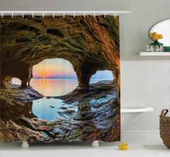 Mağara ve Gün Doğumu Temalı Duş Perdesi Deniz