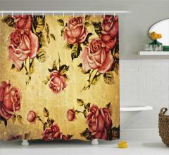 Nostaljik Duş Perdesi Romantik Pembe Gül Desenli