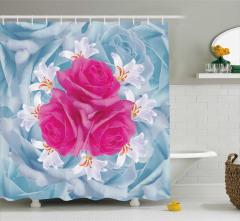 Çiçek Desenli Duş Perdesi Fuşya Güller Zambaklar