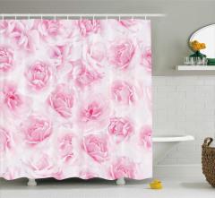 Pembe Duş Perdesi Gül Desenli Çeyizlik Çiçekli Beyaz