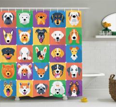 Sevimli Köpekler Kolajlı Duş Perdesi Rengarenk Mor