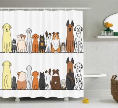 Komik Sevimli Köpek Desenli Duş Perdesi Kahverengi