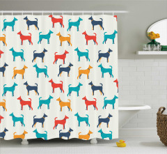 Rengarenk Köpek Desenli Duş Perdesi Kırmızı Lacivert