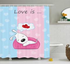 Romantik Duş Perdesi Hayal Kuran Köpek Pembe Mavi