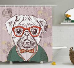 Karakalem Etkili Duş Perdesi Komik Köpek Portresi