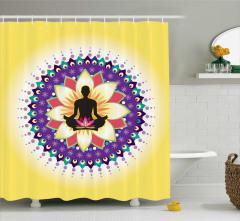 Yoga Temalı Duş Perdesi Lotus Pozu Mandala Sarı Mor