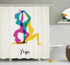 Yoga Temalı Duş Perdesi Meditasyon Pembe Sarı Mavi