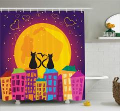 Çocuklar için Duş Perdesi Romantik Kedi Mor Turuncu