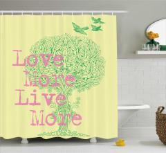 Sarı Duş Perdesi Aşk Temalı Romantik Şık Tasarım