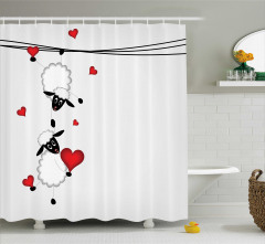 Çocuklar için Duş Perdesi Aşık Koyunlar Kalp Kırmızı
