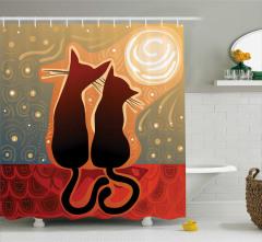 Turuncu Duş Perdesi Gün Batımı Aşık Kedi Desenli