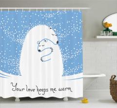 Mavi Beyaz Duş Perdesi Kutup Ayısı Desenli Romantik