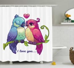 Rengarenk Duş Perdesi Aşık Kuşlar Desenli Romantik
