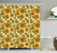 Sarı Ayçiçeği Desenli Duş Perdesi Şık Tasarım