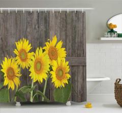 Ahşap Çit ve Ayçiçeği Desenli Duş Perdesi Sarı