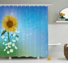 Papatya ve Ayçiçeği Desenli Duş Perdesi Mavi