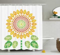 Ayçiçeği ve Yaprak Desenli Duş Perdesi Modern