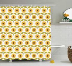 Dekoratif Sarı Desenli Duş Perdesi Ay Çiçeği