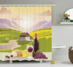 Şarap ve Dağ Manzaralı Duş Perdesi Yeşil Mor