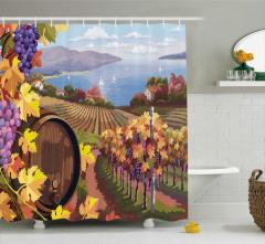 Şarap ve Deniz Desenli Duş Perdesi Dekoratif