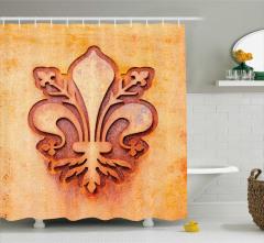Zambak Sembolü Desenli Duş Perdesi Dekoratif