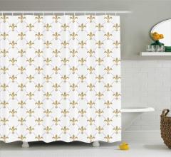 Zambak Duvar Kağıdı Desenli Duş Perdesi Beyaz