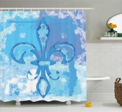 Mavi Zambak Desenli Duş Perdesi Dekoratif